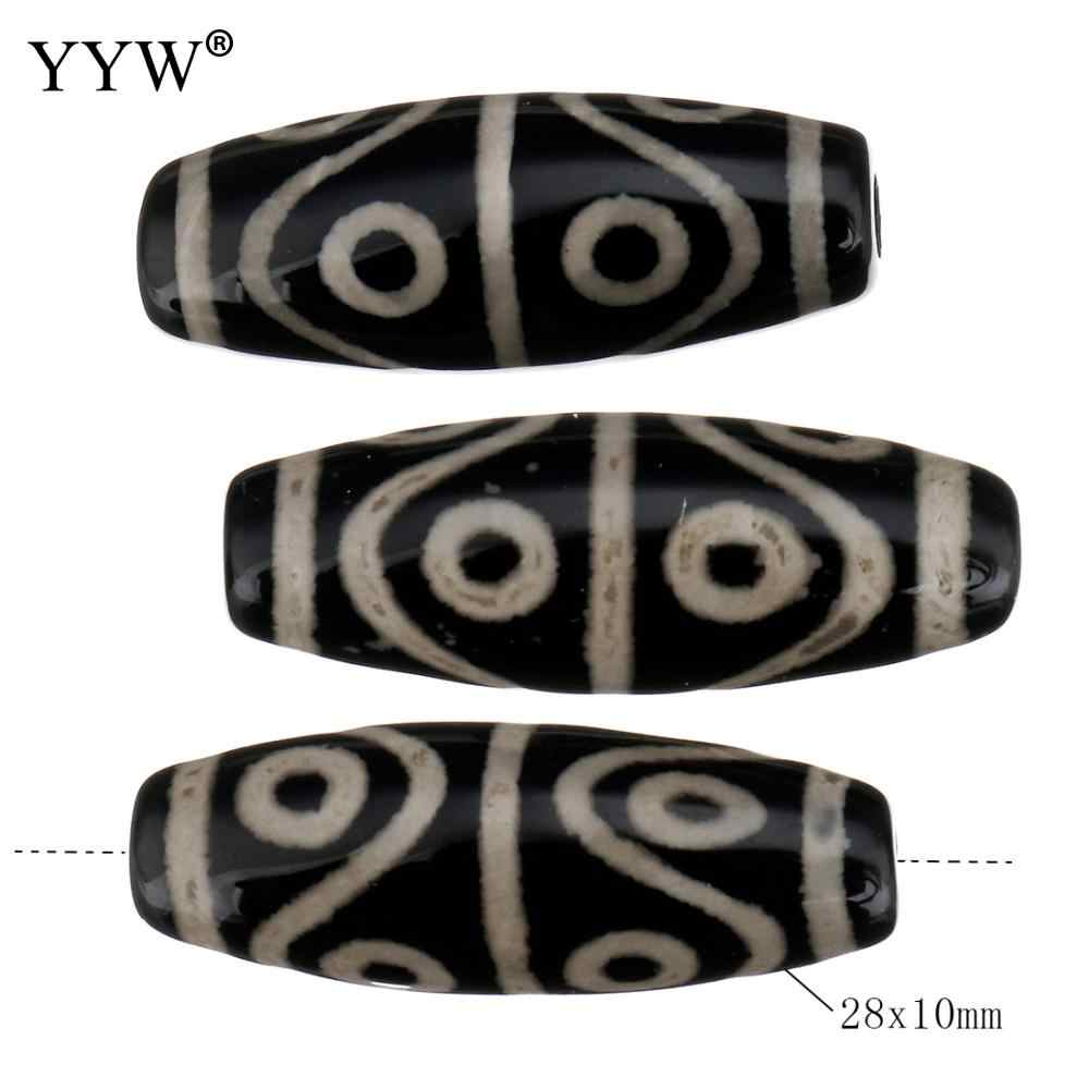 טבעי טיבטי Dzi חרוזים תכשיטים ביצוע אביזרי 28x10x10mm חור: כ 2.5mm 5 יח'\חבילה