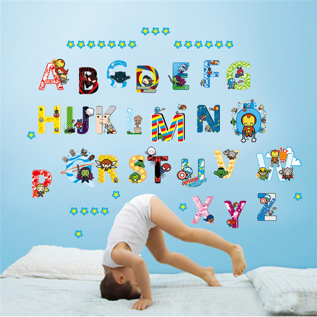 Cartoon Student Alphabet Wall Sticker For Kids Rooms Childrens