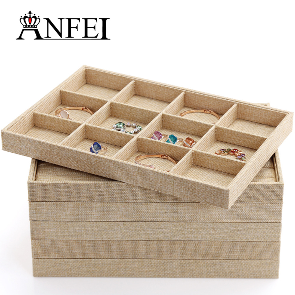 ANFEI Jute Series Jewelry Display Tray Jewelry Organizer case