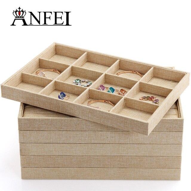 Anfei Jute Series Jewelry Display Tray Jewelry Organizer Case