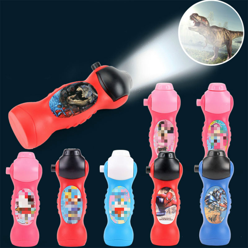 Creative Cartoon Pattern Animal Slide Dinosaur Spiderman Projector Toy Flashlight Sleep Story Early Educational Intelligent Toy
