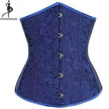 Dark Blue Underbust Corset Jacquard Floral Korset Gothic Bustier Boned Corsets Front Busk Corsetto Solid Waist Slimming Gorset