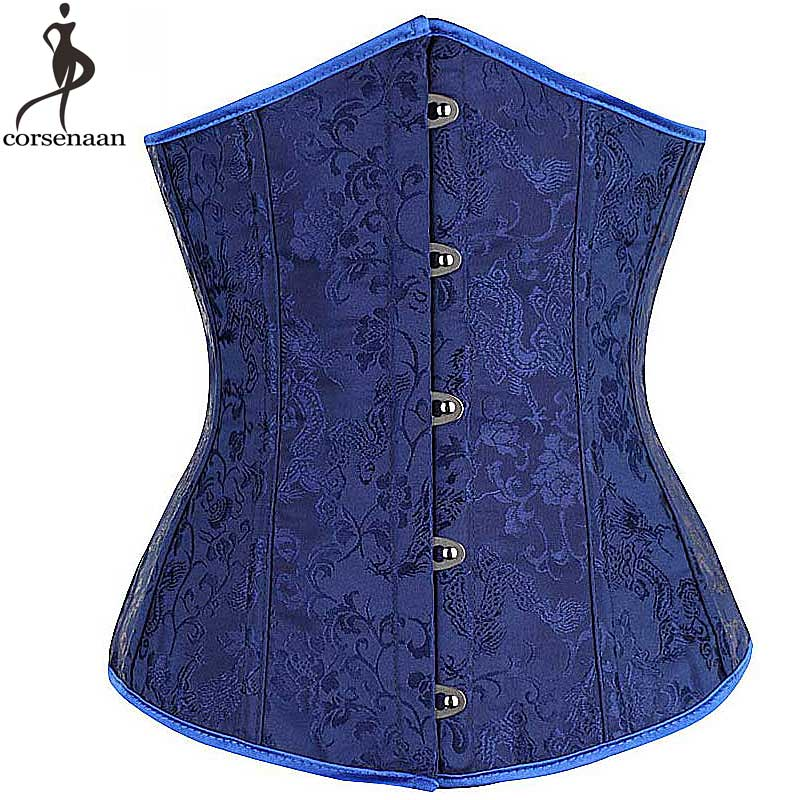 Dark Blue Underbust   Corset   Jacquard Floral Korset Gothic   Bustier   Boned   Corsets   Front Busk Corsetto Solid Waist Slimming Gorset