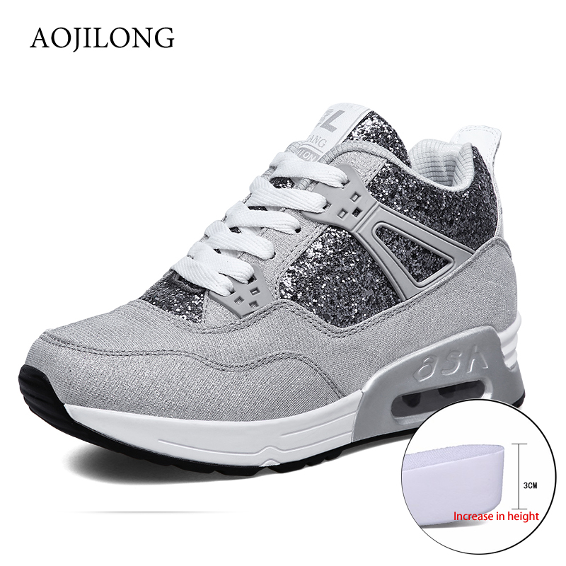 AOJILONG Outdoor Walking Shoes Air Cushion Sneakers High Tops Shake Shoes Platform Wedges Height Increasing Sport Tenis Feminino