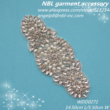 Crystal beaded rhinestone pearl applique WDD0271