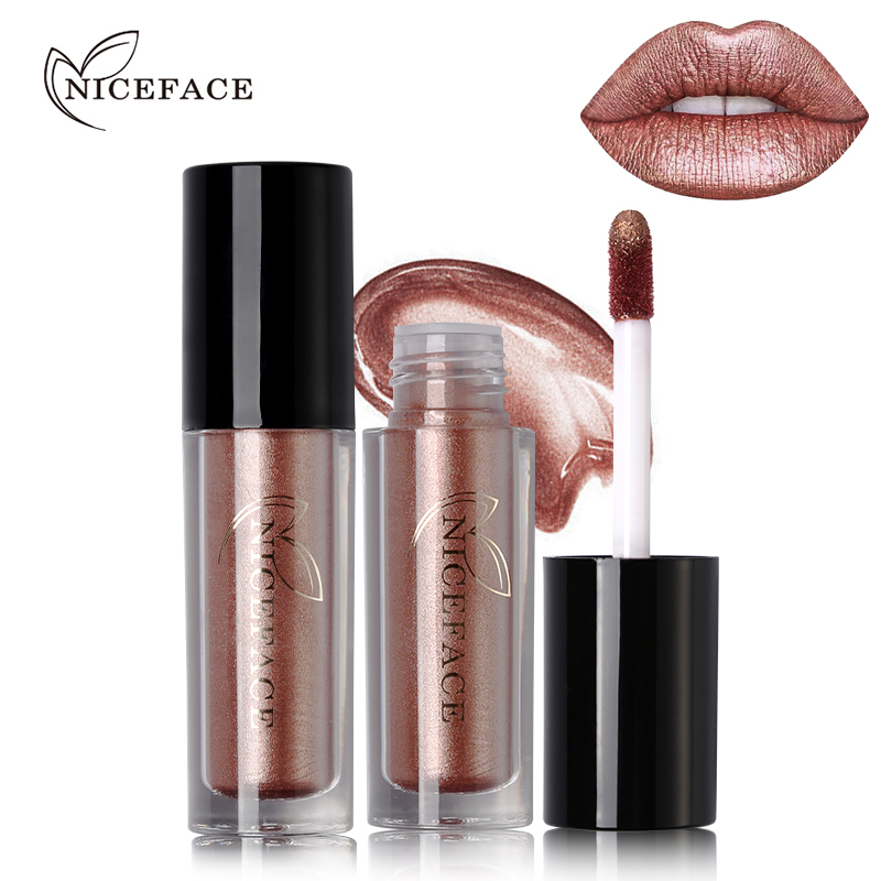 NICEFACE 12 Color Ultra Metal Liquid Lipstick Bronze Rose Gold Shimmer Metallic Lip Gloss font b