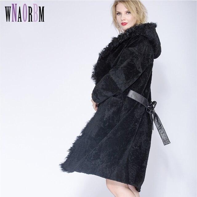 2019 Koyun Çoban kadın Kendini yetiştirme Kış Ceket Kış Seksi Pijama Bölüm Gerçek Kürk Ceket, kuzu Saç Şapka Ceket Artı Boyutu