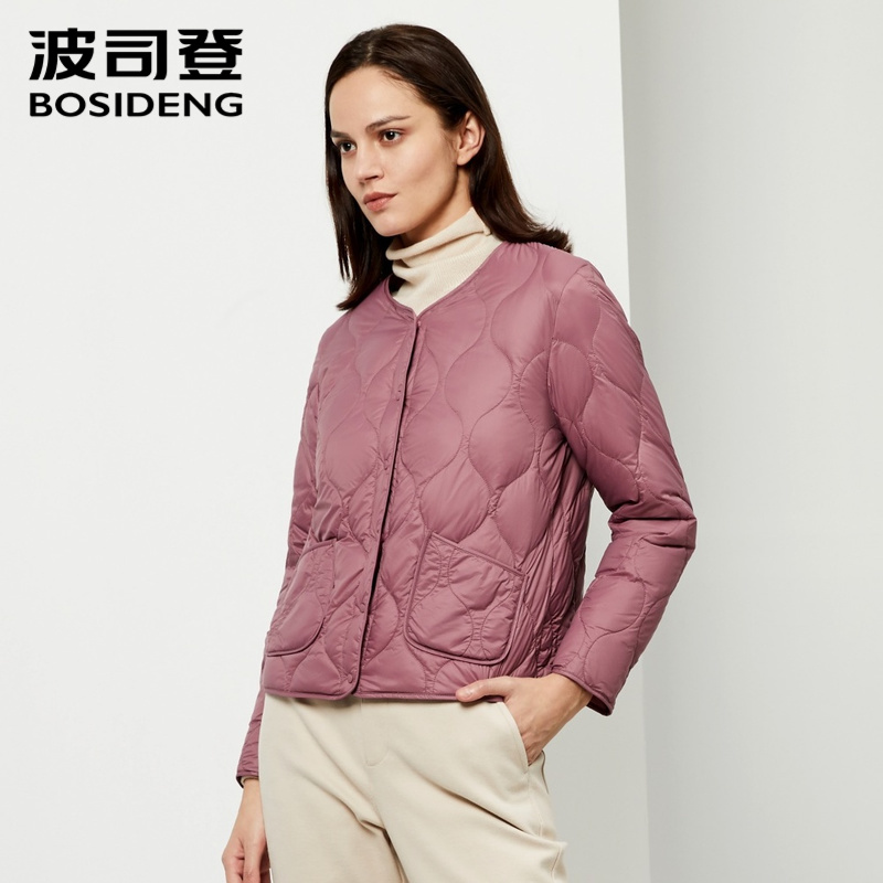 BOSIDENG womens clothing Spring   down     coat   regular jacket ultra light solid color slim clearance sale plus size B90130008