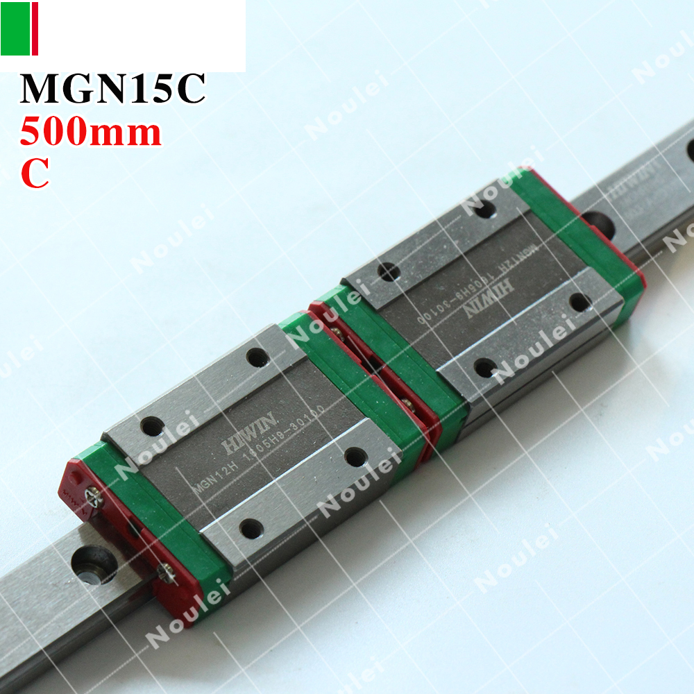 HIWIN MGN15C slide block with 500mm MGN15 linear guide rail miniature stainless steel MGNR15 for cnc parts hiwin mgn15 mgn15c4r800z0cm linear guideways rail mgnr15r 800mm with 4pcs mgn15c carriage block cnc diy 3d printer miniature