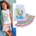 Envío gratis Hot new summer traje de falda de las muchachas hola gatito del arco iris de rayas chaleco + falda