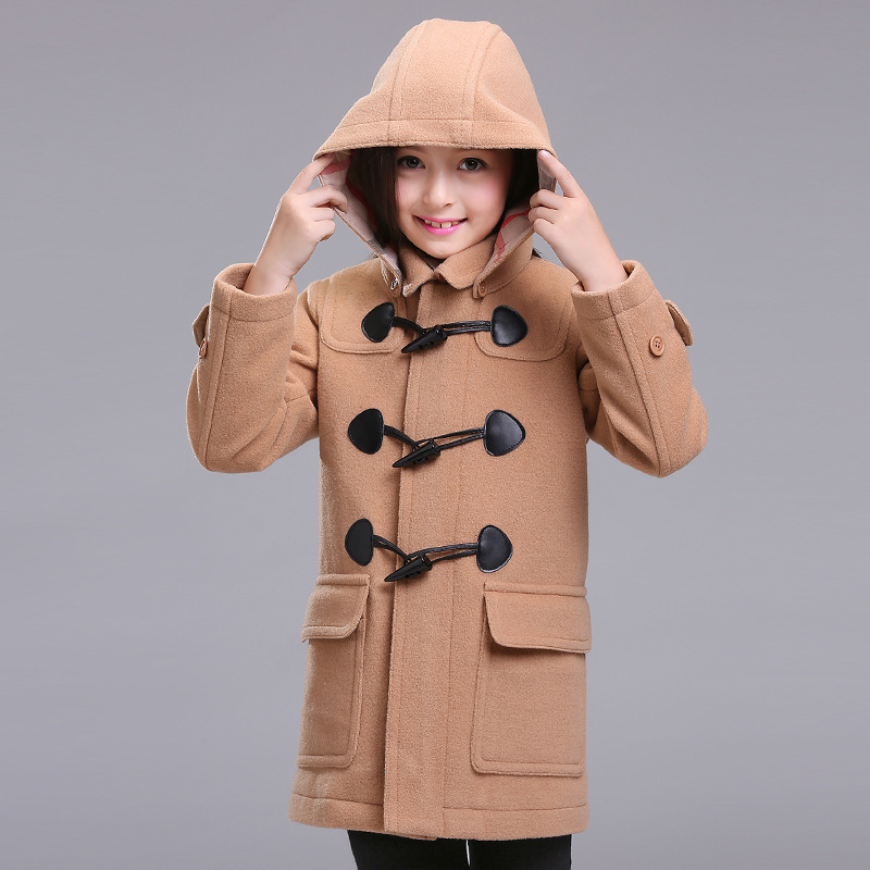 2017 winter girl jacket,children winter wool coat,clasic girls overcoat for 120-160cm free shipping top quality coat overcoat 2017 girls children hoodies winter wool