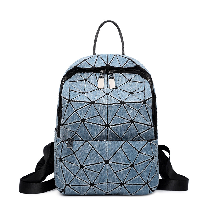 2018 Women Cowboy Backpack Geometric Plaid Sequin Female Backpacks For Teenage Girls Bagpack Holographic Drawstring School Bag ipinee women backpack feminine geometric plaid denim female backpacks for teenage girls bagpack drawstring bag holographic