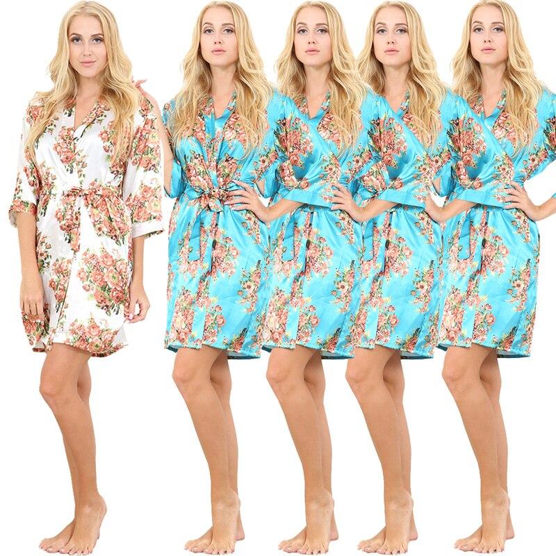 5 Pezzo Donne Raso Floreale Dell'abito di Cerimonia Nuziale Vestaglia Di Seta Accappatoio Accappatoio Pigiama Stile Kimono abito Camicia Da Notte Degli Indumenti Da Notte Vestaglia - 6
