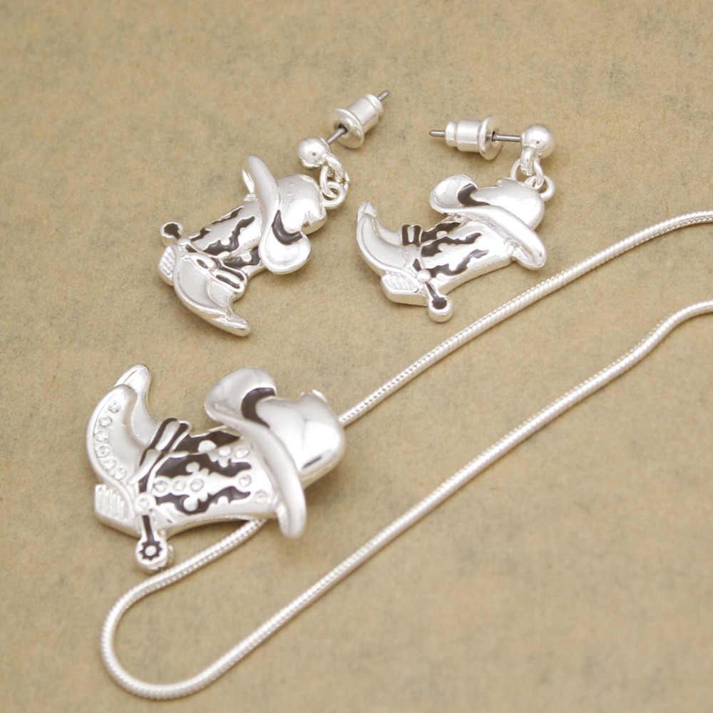 Lady Western Texas Cowgirl หมวก Stetson Boot จี้ Spur Rodeo งู Link Chain Drop Dangle ต่างหูสร้อยคอชุดเครื่องประดับ