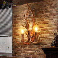 Art Deco Retro Wall Lamp American Country Wall Light Resin Deer Horn Antler Lampshade Decoration Sconce Free shipping