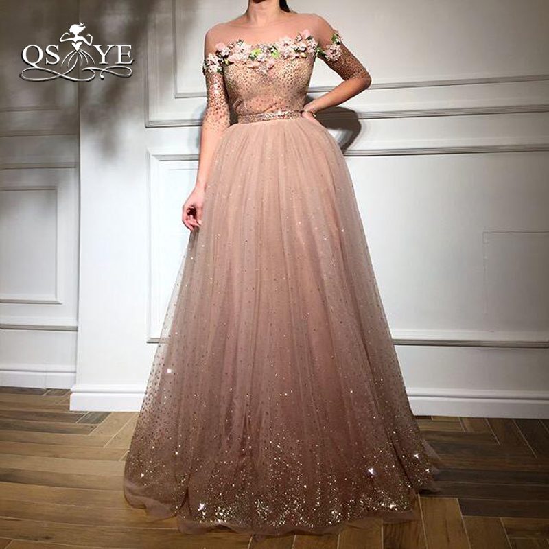 QSYYE 2018 New Arrival Long Prom Dresses Elegant 3D Floral Lace Flower Half Sleeve Floor Length Tulle Evening Dress Party Gown