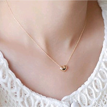 New Hot fashion elegant sweet short design gold love necklace chain female(China)