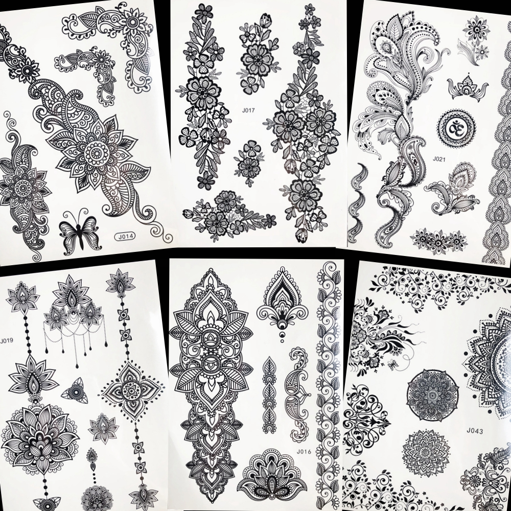 Temporary Tattoos 4 Style New Arrival Flash Women Tattoo Stickers Large Flower Pendant Jewelry Waterproof Arm Back Fake Henna Tattoo Black Ink