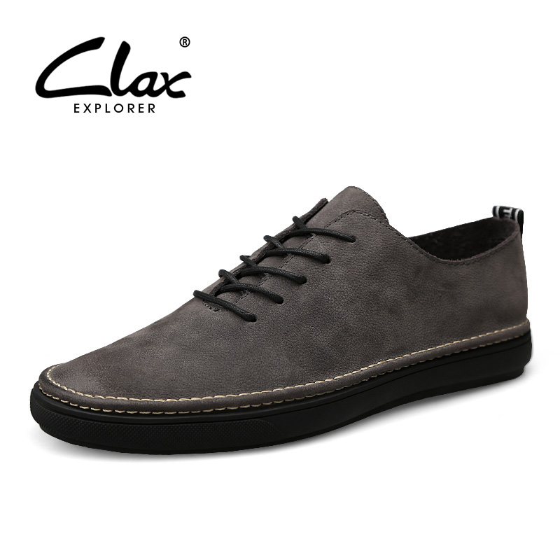 CLAX Men Spring Shoe 2018 Genuine Leather Shoes For Male Fashion Casual Footwear British Flats Walking Shoe Soft Comfortable