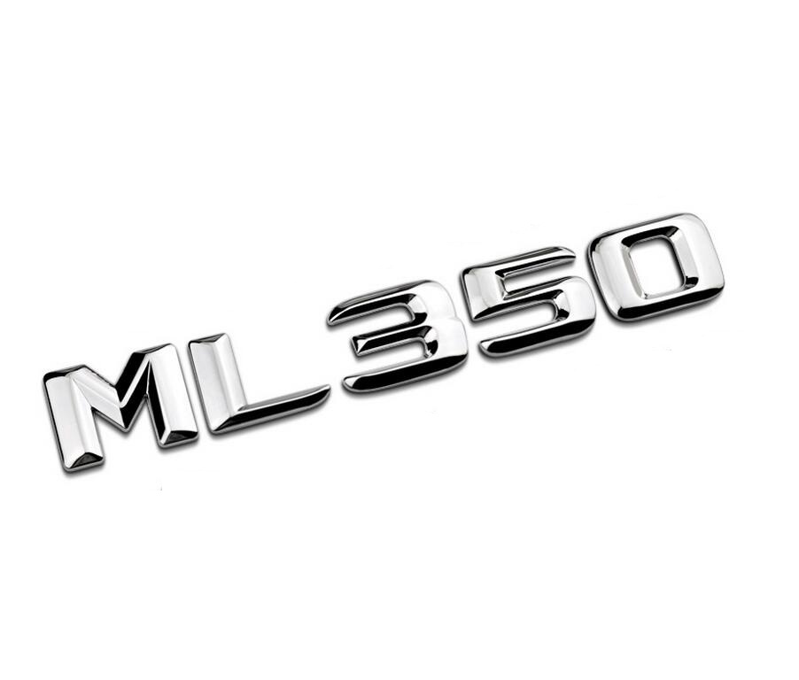 Chrome Shiny Silver  ML 350  Car Trunk Rear Letters Word Badge Emblem Letter Decal Sticker for Mercedes Benz ML Class ML350