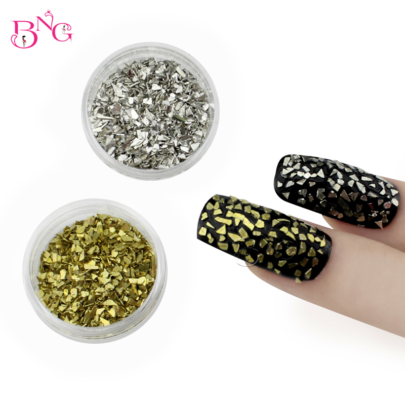 12pots/set Copper Irregular Gold Silver Decorations For 3D Nail Art Manicure Supplies DIY Nail Design Accessories