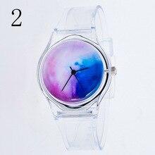 Fashion Women Wristwatches Plastic Clock Transparent Strap S