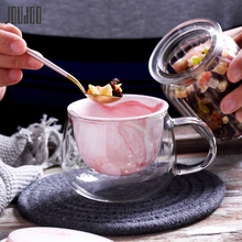 JOUDOO 450ML Glass Tea Mugs With Ceramic Filter Creative Cup Inner Gallbladder Thickened Fruit Drink Milk Drinkware 35