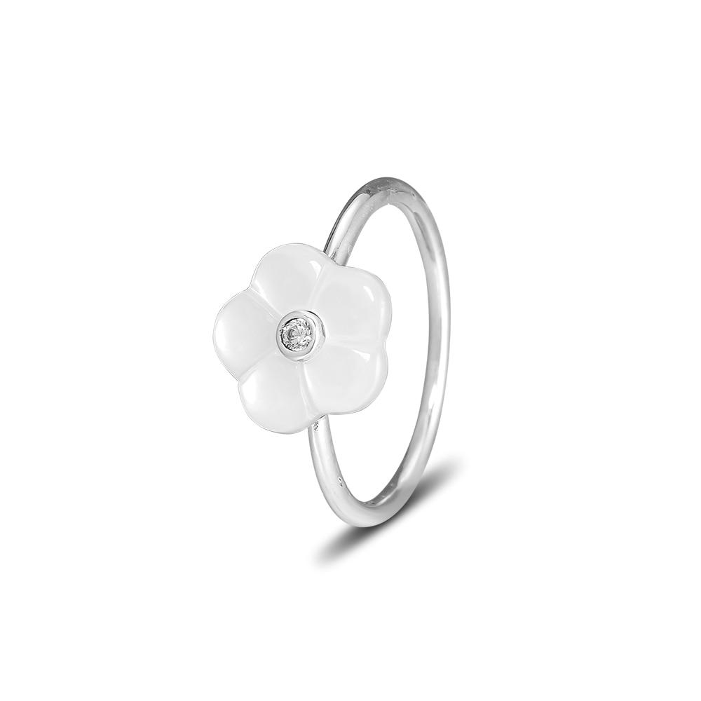 Autentiska 925 sterling silver smycken lysande blommor ring med - Fina smycken