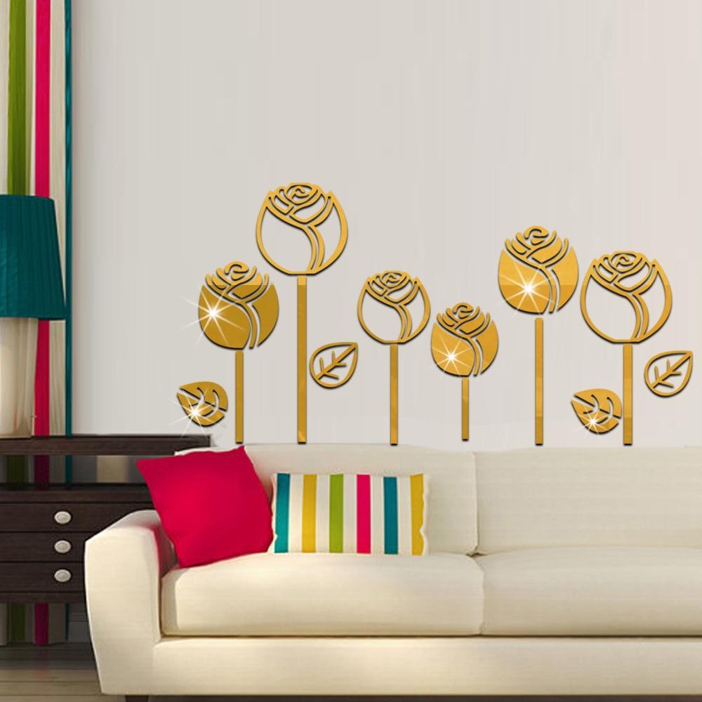 6 pcs 3D Tulip Flowers Mirror Effect Wall Stickers Fashion