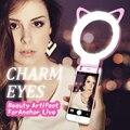 Selfie led luz luz luz del flash de anillo luminoso LED de 3 Niveles de Brillo Clip en Todos Los Smartphone Teléfono Móvil gato