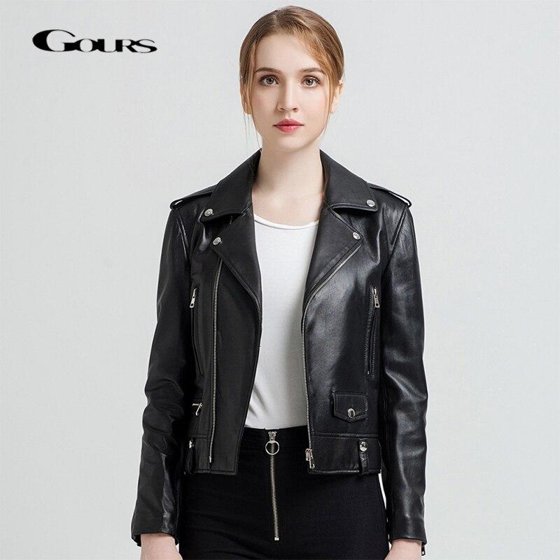 Gours Women's Genuine Leather Jackets Female Fashion Short Motorcycle Jacket Black Classic Punk Style Ladies Sheepskin Coat 1619