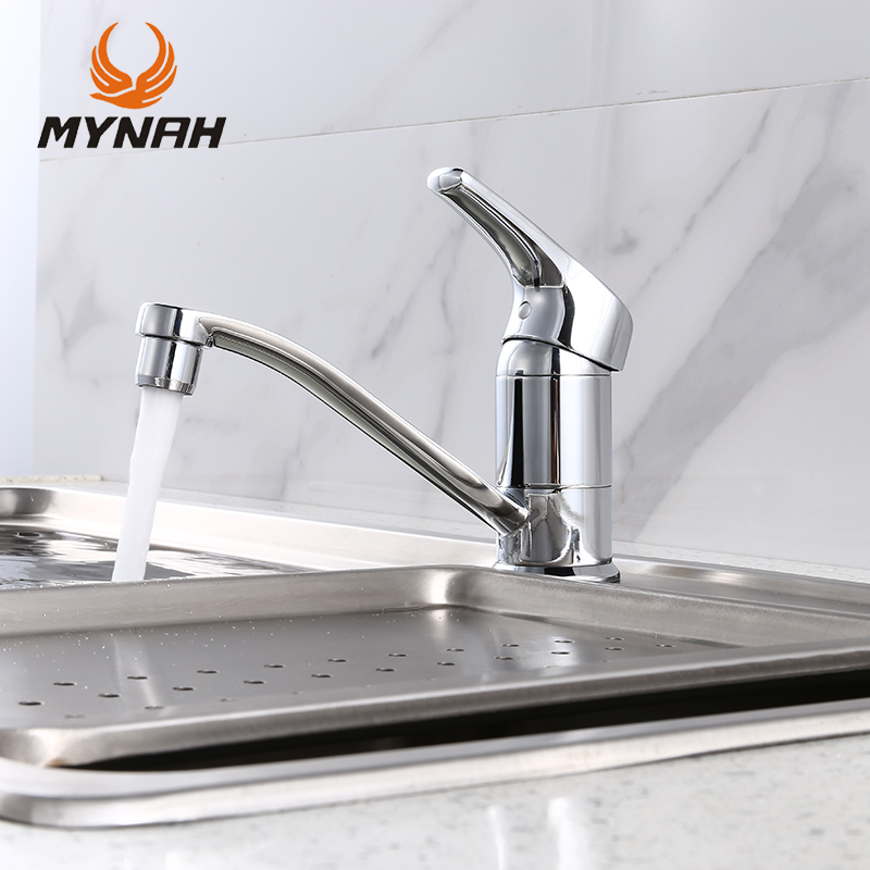 MYNAH Polished Deck Mounted Kitchen Faucet Single Handle Single Hole Chrome Faced Kitchen Mixer Tap