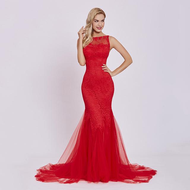 Dressv red evening dress cheap sleeveless mermaid scoop neck backless sweep train wedding party formal trumpet evening dresses