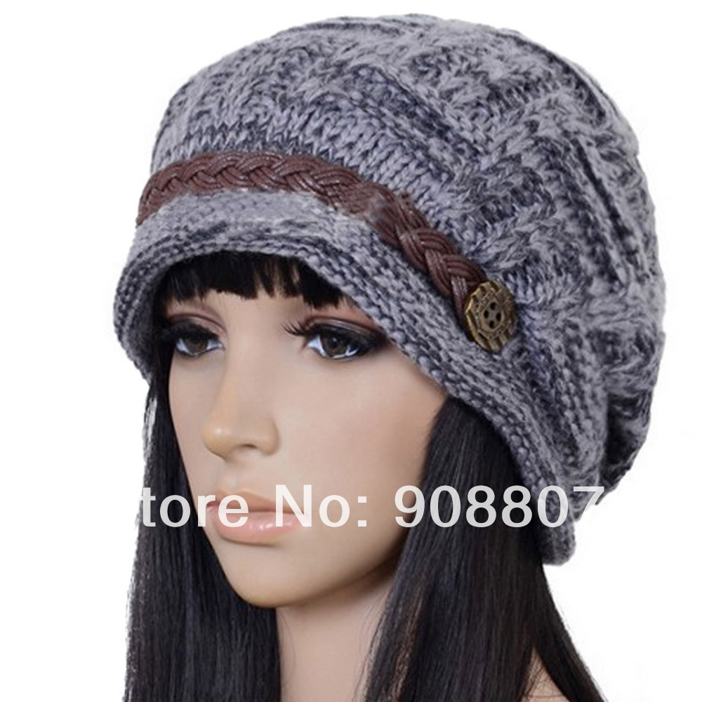 Etang Free Shipping Slouchy Cabled Pattern Knit Beanie Crochet Rib ...