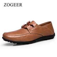 ZOGEER Big Size 38-48 Brand Men Casual Shoes, Black Office Leather Men Shoes,  Lightweight Cow Split Leather Men Moccasin