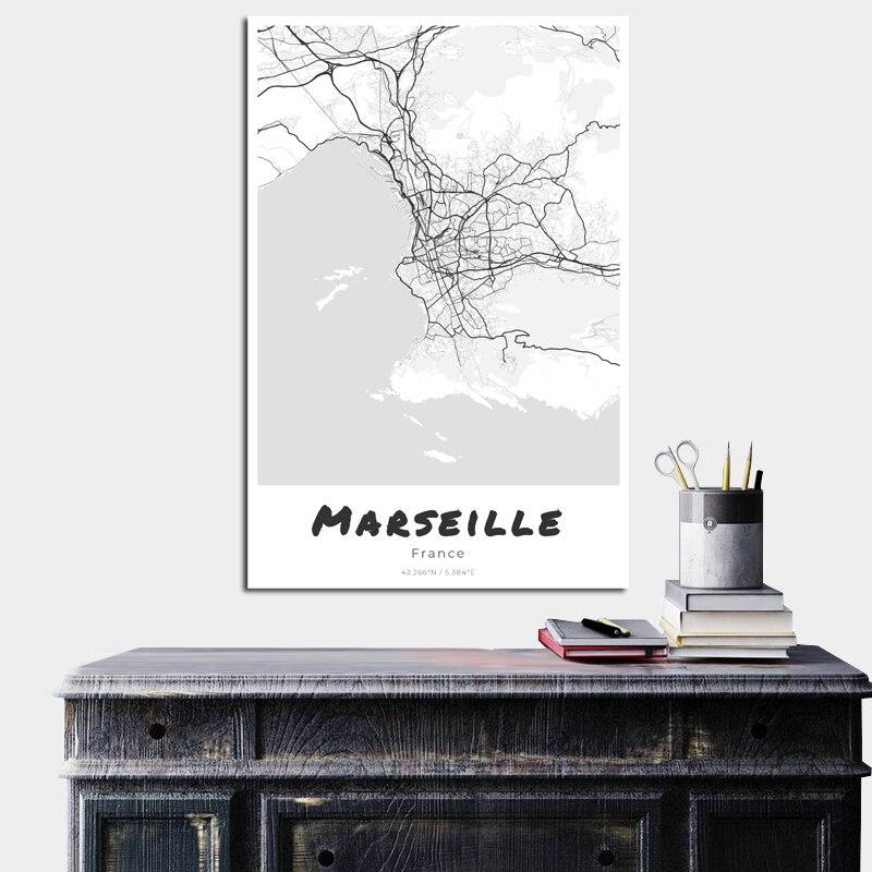Marseille Print Canvas Painting Nordic Poster Large Wall Art European Michael Jordan Giclee Fabric