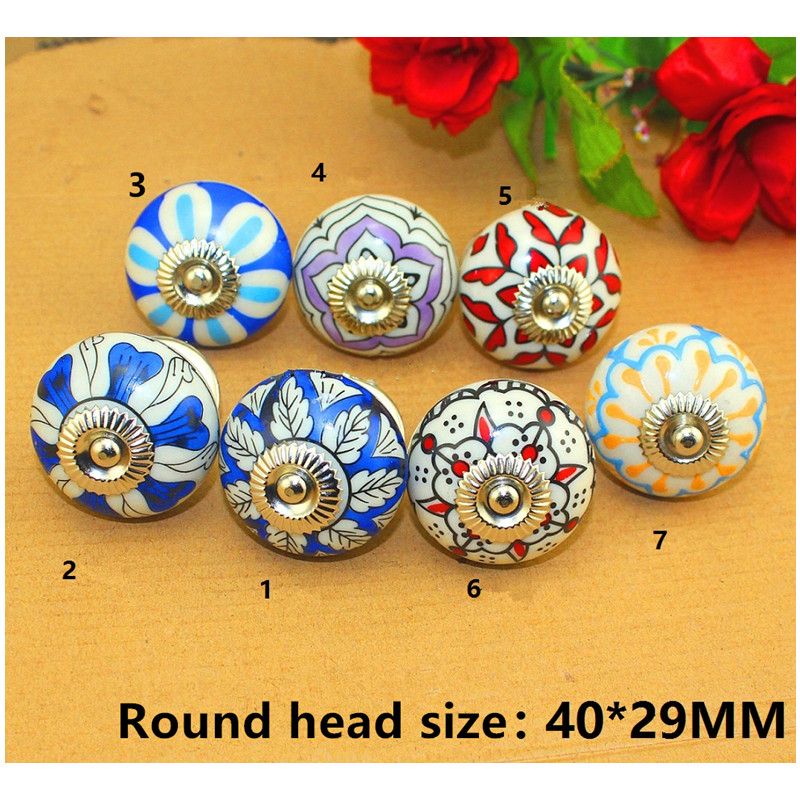 Vintage Furniture Handle Flower Ceramic Knobs and Handles Door Handle Cupboard Drawer Kitchen Pull Knob Furniture Hardware,1PC pastoralism pumpkin ceramic knob kitchen ceramic door cabinets cupboard knob and handles 1pcs