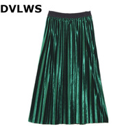 2019 Fashion Spring High Waist Velvet Skirt Fold Skirt for Women