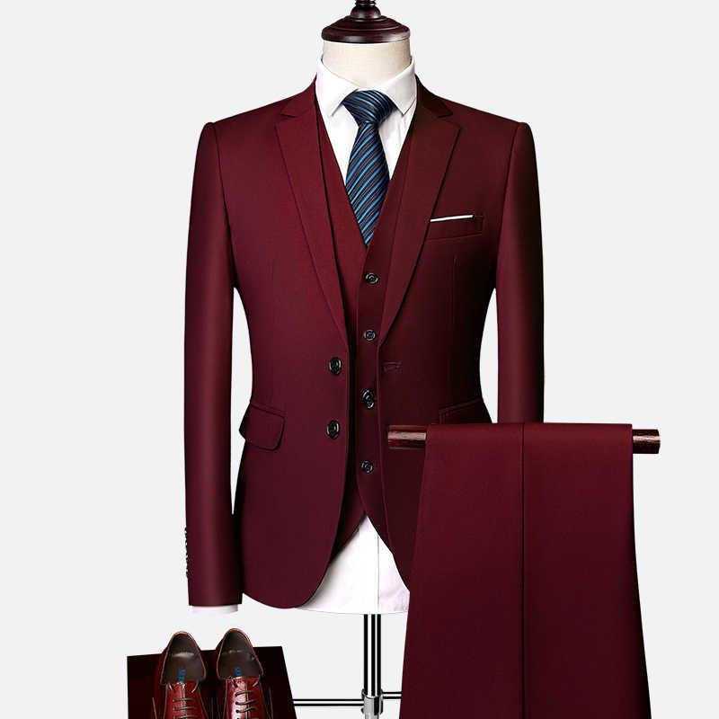 Takım elbise takım elbise erkek 2019 ilkbahar ve sonbahar high-end özel iş blazers üç parçalı/Ince büyük boy çok renkli butik takım elbise