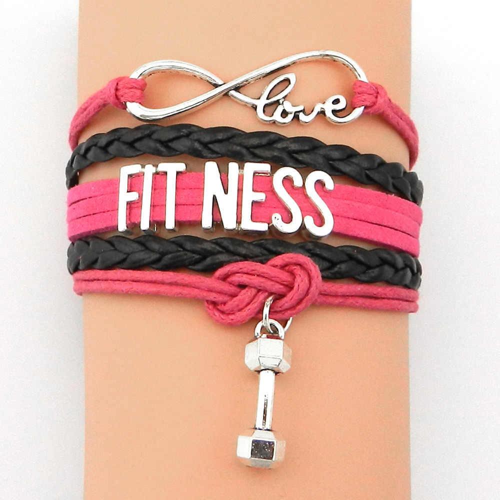 Envío Directo infinito amor Fitness pulsera-combinado Retro cuero Correa chicas amistad regalos