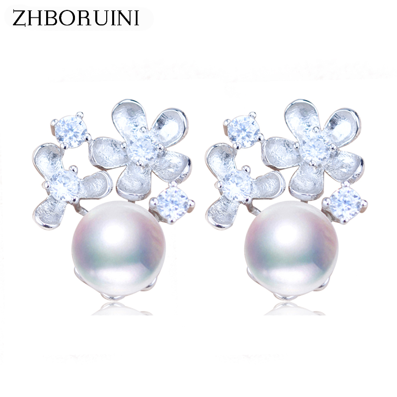 ZHBORUINI Fashion Pearl Earrings Flower Pearl Jewelry Natural Freshwater pearl 925 Sterling Silver Earrings Jewelry For Women купить в Москве 2019
