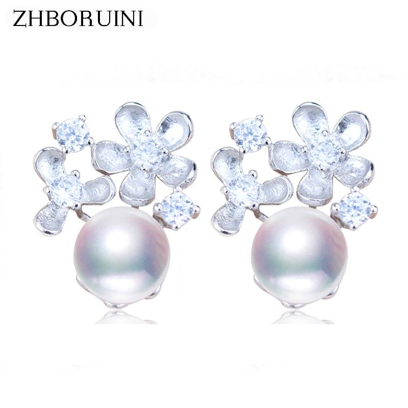цена на ZHBORUINI Fashion Pearl Earrings Flower Pearl Jewelry Natural Freshwater pearl 925 Sterling Silver Earrings Jewelry For Women