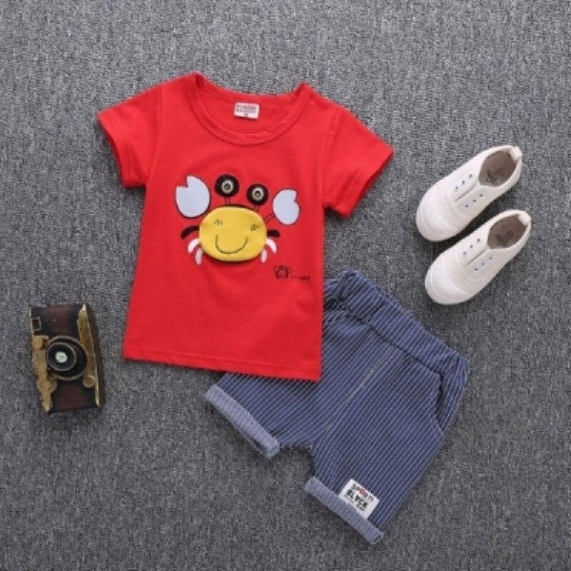 Summer Bebe Casual Top+ Pant 2pcs Infant Clothing Cartoon Crab Print Set Newborn Short Sleeve Baby boy Stripe Set Clothes