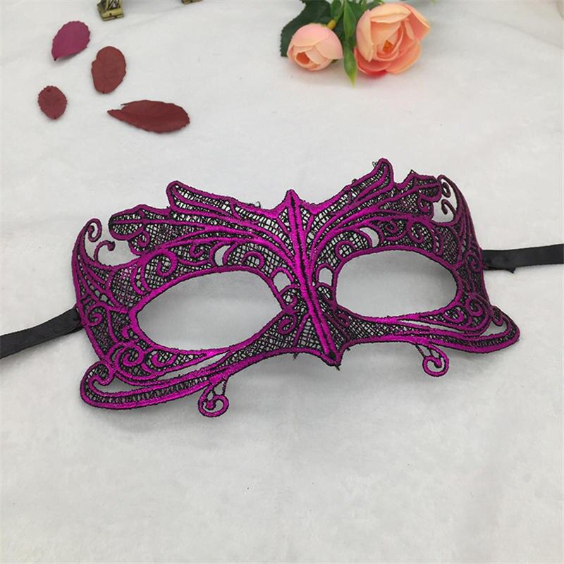 Фиксированная форма, Дамская Сексуальная Маскарадная маска из кружева для карнавала, Хэллоуина, выпускного вечера, Вечерние Маски, фиолетовые, горячее тиснение#35 - Цвет: PM046TZ