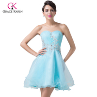 Grace Karin Short Blue Sweetheart Prom Ball Gown Lace Beaded Voile Girls Cocktail Dress Mini Party
