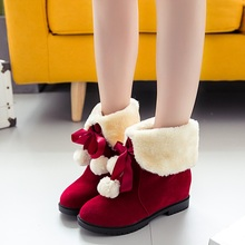 2017 new fashion style female footwear solid color women winter snow boots bow tie women warm