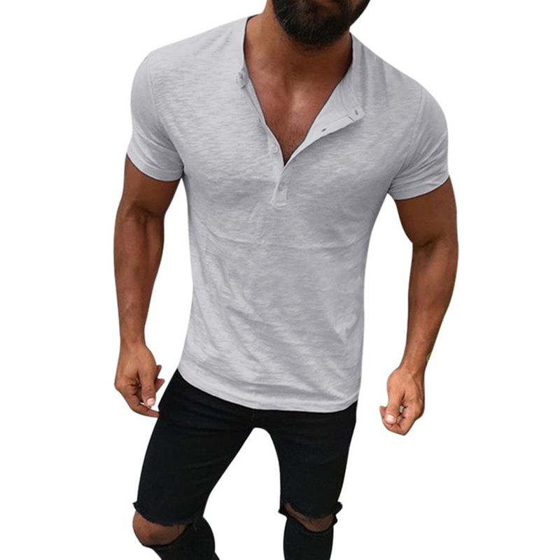 Shujin Men Short Sleeve   polo   Shirt 2019 Summer Casual Male Cotton Linen Henry Collar Slim Fit Solid Shirt Chemise Homme   polo