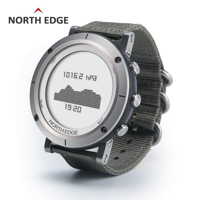 NORTH EDGE hommes montre de sport altimètre baromètre thermomètre boussole moniteur de fréquence cardiaque podomètre numérique course montre d'escalade - 3