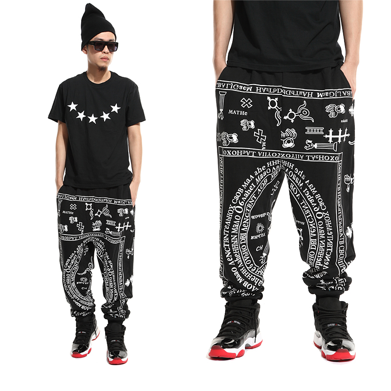 New Fashion Athletic Hip Hop Dance Sport cotton Pants male European Style  Design harem sweatpants mens casual Trousers 2af1cc49fcb5