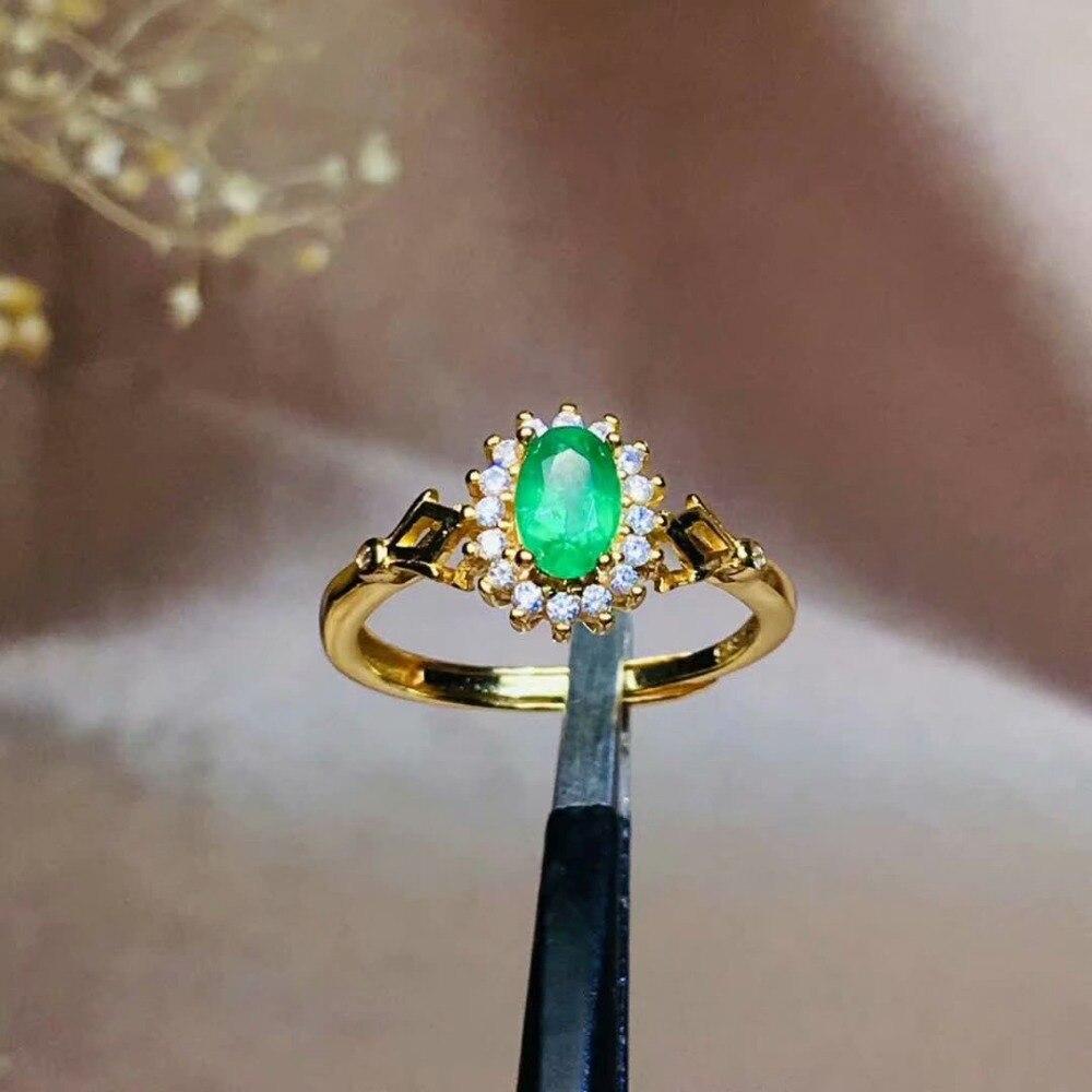 Shilovem 925 argent sterling véritable naturel émeraude anneaux bijoux fins personnalisable femmes cadeau nouveau en gros 4*6mm jcj0406999agml